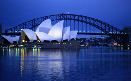The Sydney Harbor Bridge and Opera House.